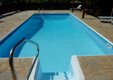 Roman steps into pool. Cyprus villa, private pool. Lara, Coral Bay